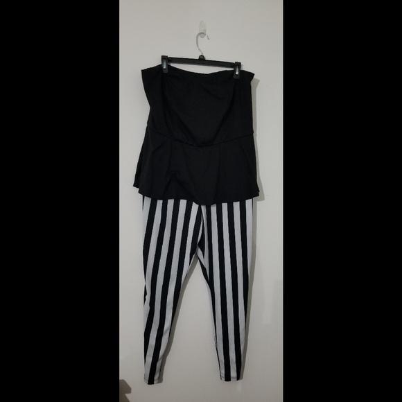 657766f7f1e Ashley Stewart Pants - Black   White Plus Size Peplum Top Jumpsuit